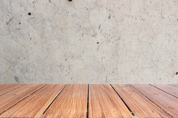 Top of wood table on old concrete wall background. you can be used for display your products