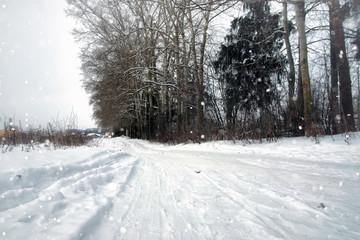 winter snow rustic road