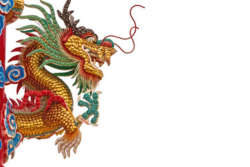 Chinese style dragon statue on natural light
