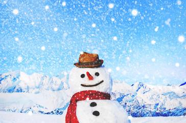 Snowman Outdoors White Scenery Christmas Celebration Concept