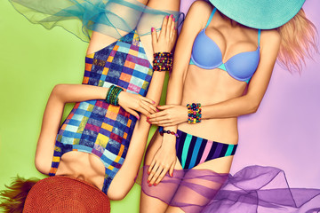 Beauty woman body in fashion swimsuit, beach people