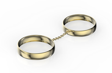 Złote obrączki połączone łańcuszkiem