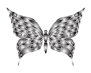 Hand drawn ornamental butterfly outline illustration with decora