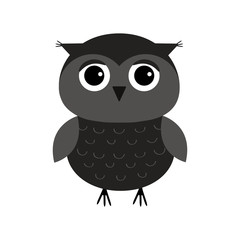 Cute owl bird character. Flat design. Isolated. Black on white background.