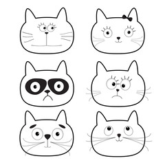 Cute black contour cat head set. Funny cartoon characters. White background. Isolated. Flat design.