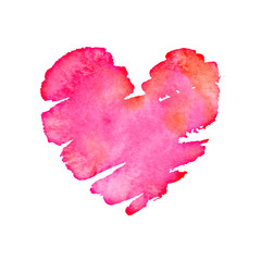 Valentines day watercolor heart background for holiday card.