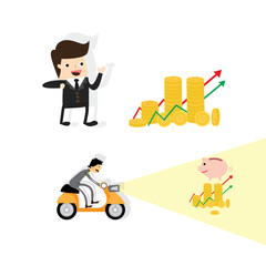 save money ,Funny Business Man and Save money concept