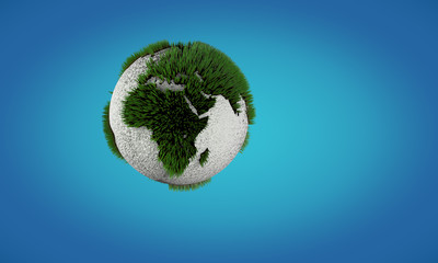 Conceptual image of Earth globe with growing grass