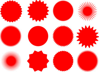 Set of Twelve vector sun and star shapes