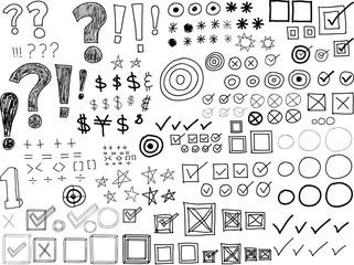 Set of Hand-drawn Doodles -Asterisks, Bullets, Check marks, Punctuation marks (Vector)
