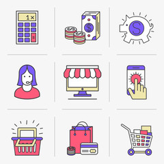 Flat Line Icons Set. Purchase and sale, online shopping, cash investments and deposits. Online payments and money transfers.Isolated Objects in a Modern Style for Your Design.
