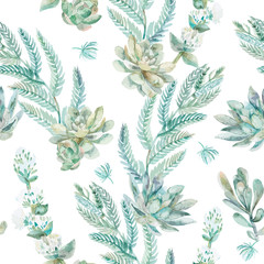 Vector floral seamless pattern. Succulents, ferns, thorns.
