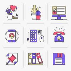 Flat Line Icons Set. Personal account and environment, desktop, office. Isolated Objects in a Modern Style for Your Design