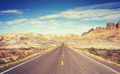 Vintage toned scenic road, Utah, USA.