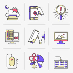 Flat Line Icons Set. Cloud Storag, Safety, Security and Video Surveillance. Isolated Objects in a Modern Style for Your Design.