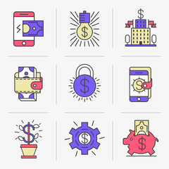 Set of vector icons into flat style. Mobile commerce, online payment, receipt of payments, banking, monetary transactions. Isolated Objects in a Modern Style for Your Design.