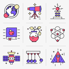 Set of vector icons into flat style. Scientific experiment, solar system, space flight, range of motion. Isolated Objects in a Modern Style for Your Design.