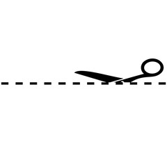 Scissors with cut line