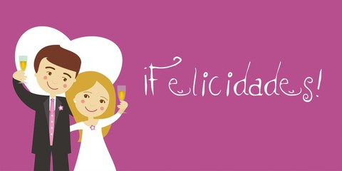 Greeting wedding newlywed couple toasting and Spanish text