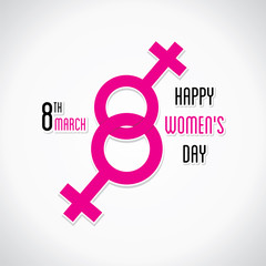 happy womens day greeting design using female symbol design vector