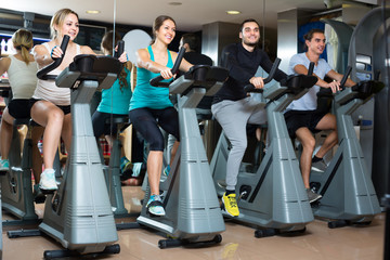Group cycling in fitness club