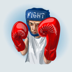 Young boxer with red boxing gloves and blue helmet fighting