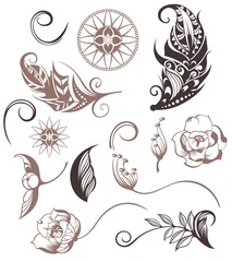 Set of Ornamental Boho Style elements