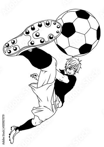 Football Soccer Player Kicking The Ball Illustration Logo
