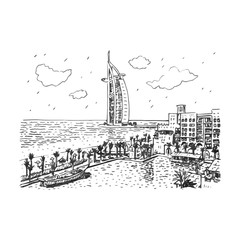 Burj Al Arab hotel, Dubai, UAE. Vector hand drawn sketch.