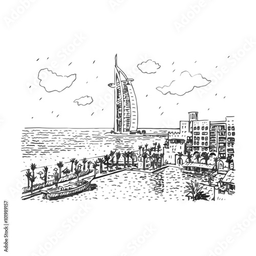 Burj Al Arab Hotel Dubai UAE Vector Hand Drawn Sketch