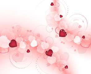 Valentines day vector background with hearts and spiral floral pattern. Design for your greeting card.