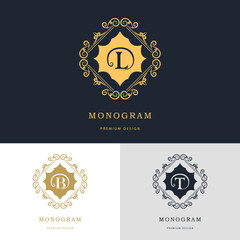 Monogram design elements, graceful template. Calligraphic elegant line art logo design. Letter emblem sign B, L, T for Royalty, business card, Boutique, Hotel, Heraldic, Jewelry. Vector illustration