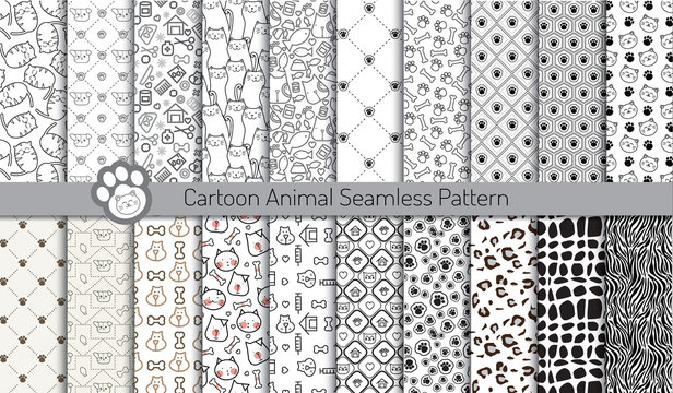 cartoon animal seamless patterns,pattern swatches included for illustrator user, pattern swatches included in file, for your convenient use.