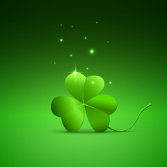 Three clover leaf on green background, vector illustration for St. Patrick's day