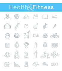 Fitness gym and healthy lifestyle flat thin line vector icons. Diet nutrition, shaping workout, fitness gear, personal trainer, sport clothes infographic elements. Exercises for female body muscles