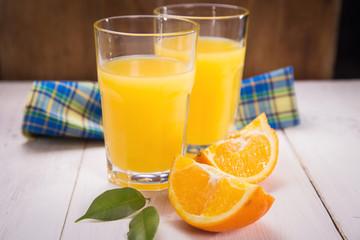 orange juice and fruit