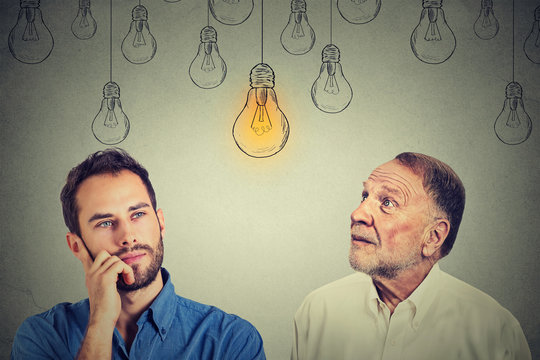 Cognitive skills concept, old man vs young person