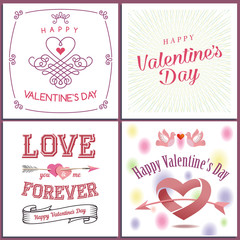Happy Valentine`s day set - emblems and cards. Valentine concept. Valentine's day invitation design