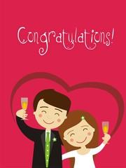 Greeting wedding newlywed couple toasting