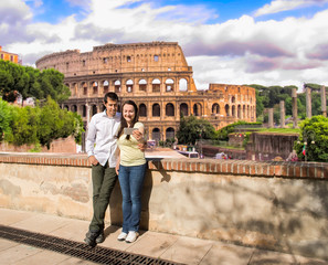 couple in love making the selfie photo in Rome