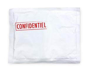 """Enveloppe blanche matelassée """"Confidentiel"""""""