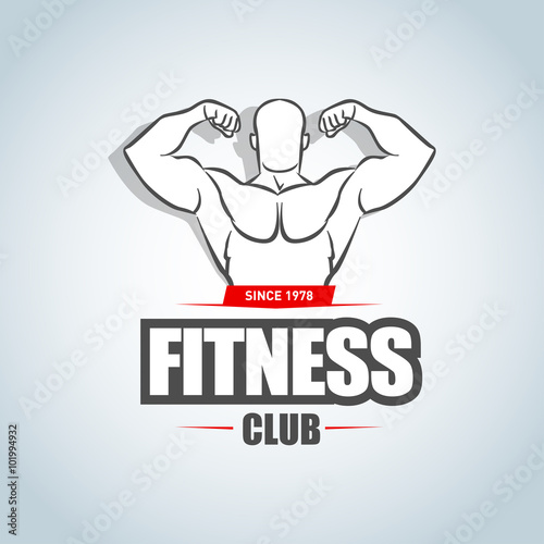 Fitness Logo Template Gym Club Logotype Sportsman Silhouette Character Vector Design