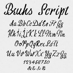 Hand drawn font handwriting brush