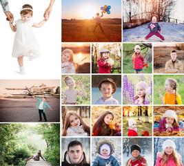 collage with happy children