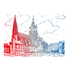St. Vitus Cathedral in Prague, Czech Republic. Vector hand drawn sketch.