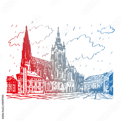 St Vitus Cathedral In Prague Czech Republic Vector Hand Drawn