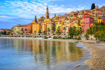 Colorful medieval town Menton on Riviera, Mediterranean sea, Fra Wall mural