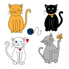 Set of cats. Cute cats on white background