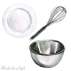 Watercolor Cooking Clipart - Kitchenware