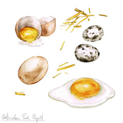 Watercolor Cooking Clipart - Eggs